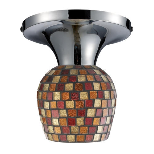 Elk Lighting Semi-Flushmount Light with Art Glass in Polished Chrome Finish 10152/1PC-MLT