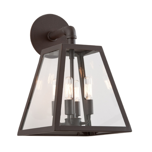 Troy Lighting Outdoor Wall Light with Clear Glass in River Valley Rust Finish B3433