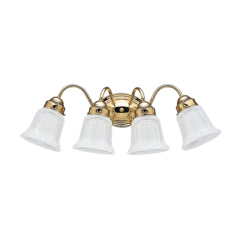 Sea Gull Lighting Bathroom Light with Clear Glass in Polished Brass Finish 4873-02