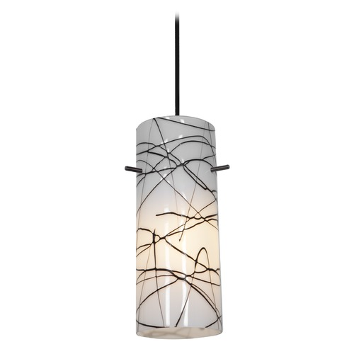 Access Lighting Modern Mini-Pendant Light with White Glass 28030-2C-ORB/BLWH