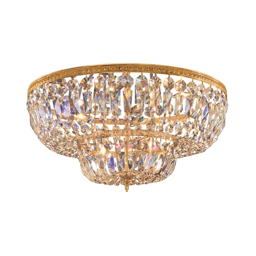 Crystorama Lighting Crystal Flushmount Light in Olde Brass Finish 736-OB-CL-SAQ