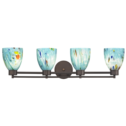 Design Classics Lighting Modern Bathroom Light with Turquoise Art Glass - Four Lights 704-220 GL1021MB