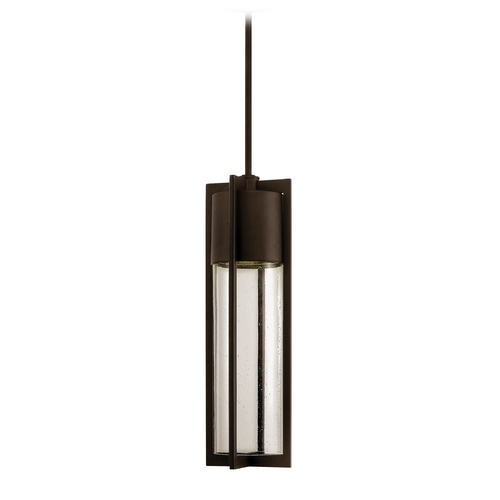 Hinkley Lighting Modern Outdoor Hanging Light Seeded Glass Bronze Hinkley Lighting 1322KZ-GU24