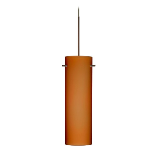 Besa Lighting Besa Lighting Copa Bronze LED Mini-Pendant Light with Cylindrical Shade 1XT-493080-LED-BR