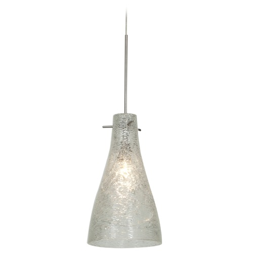Access Lighting Access Lighting Cavo Brushed Steel Mini-Pendant Light with Bowl / Dome Shade 23218UJ-BS/CRY