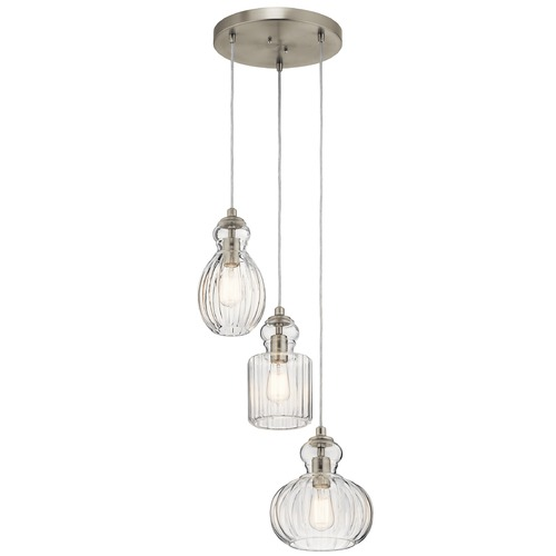 Kichler Lighting Transitional Pendant Light Brushed Nickel Riviera by Kichler Lighting 43952NI