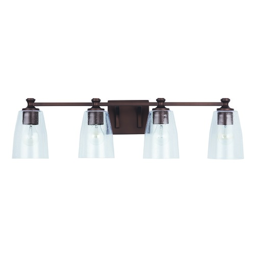 HomePlace by Capital Lighting HomePlace Myles Bronze 4-Light Bathroom Light with Clear Seeded Glass 140941BZ-506