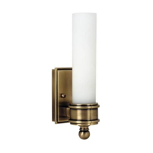 House of Troy Lighting Switched Sconce Wall Light with White Glass in Antique Brass Finish WL601-AB
