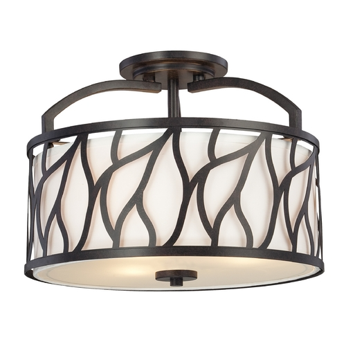 Designers Fountain Lighting Semi-Flushmount Light with White Cage Shades in Artisan Finish 83711-ART
