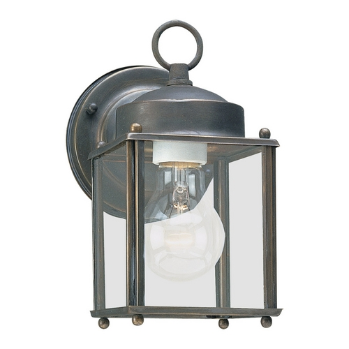 Sea Gull Lighting Outdoor Wall Light with Clear Glass in Antique Bronze Finish 8592-71
