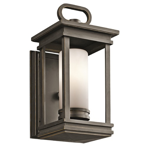 Kichler Lighting Kichler Outdoor Wall Light with White Glass in Olde Bronze Finish 49474RZ