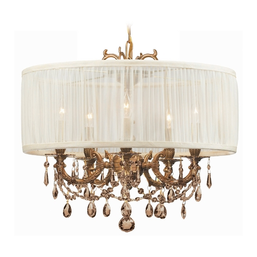 Crystorama Lighting Crystal Mini-Chandelier with White Shade in Aged Brass Finish 5535-AG-SAW-GTS
