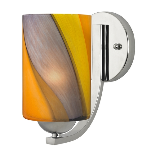 Design Classics Lighting Sconce with Art Glass in Chrome Finish 585-26 GL1015C