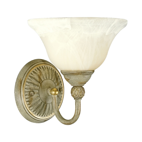 Progress Lighting Progress Sconce Wall Light with Alabaster Glass in Seabrook Finish P3204-42
