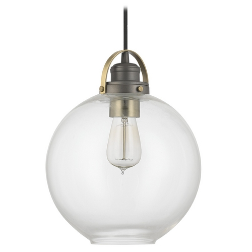 Capital Lighting Capital Lighting Graphite with Aged Brass Pendant Light with Globe Shade 4641GA-136