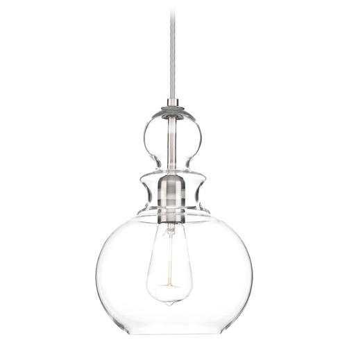 Progress Lighting Progress Lighting Staunton Brushed Nickel Mini-Pendant Light with Bowl / Dome Shade P5334-09