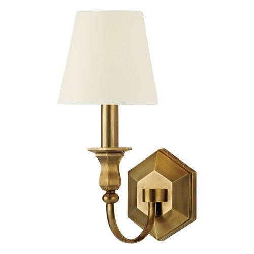 Hudson Valley Lighting Sconce Wall Light with White Shade in Aged Brass Finish 1411-AGB-WS