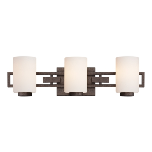 Designers Fountain Lighting Bathroom Light with White Glass in Flemish Bronze Finish 83803-FBZ