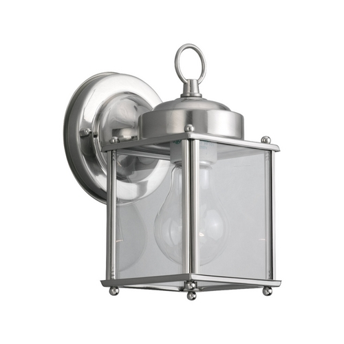 Sea Gull Lighting Outdoor Wall Light with Clear Glass in Antique Brushed Nickel Finish 8592-965