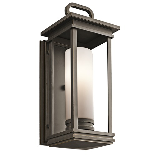 Kichler Lighting Kichler Outdoor Wall Light with White Glass in Olde Bronze Finish 49475RZ