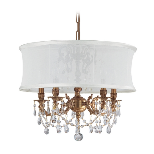 Crystorama Lighting Crystal Mini-Chandelier with White Shade in Aged Brass Finish 5535-AG-SMW-CLM