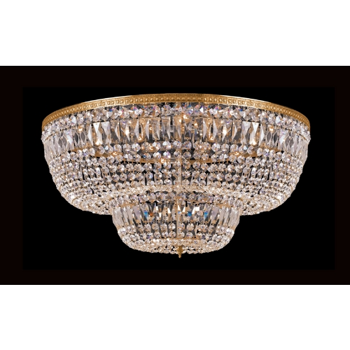 Crystorama Lighting Crystal Flushmount Light in Olde Brass Finish 748-OB-CL-S