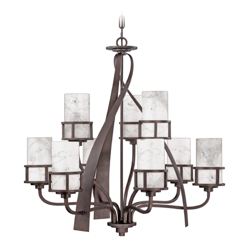 Quoizel Lighting Quoizel 2-Tier 8-Light Chandelier With White Onyx Cylinder Shades in Iron Gate KY5009IN