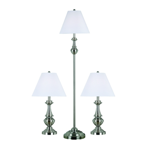 Kenroy Home Lighting Table and Floor Lamp Set with White Shade in Brushed Steel Finish 80010BS