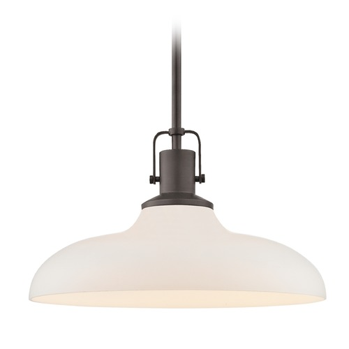 Design Classics Lighting Nautical Bronze Pendant Light with White Glass 14-Inch Wide 1762-220 G1784-WH