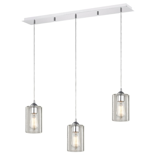 Design Classics Lighting 36-Inch Linear Pendant with 3-Lights in Chrome Finish with Clear Seeded Glass 5833-26 GL1041C