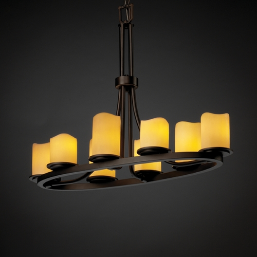 Justice Design Group Justice Design Candlearia 8-Light Chandelier in Dark Bronze CNDL-8751-14-CREM-DBRZ