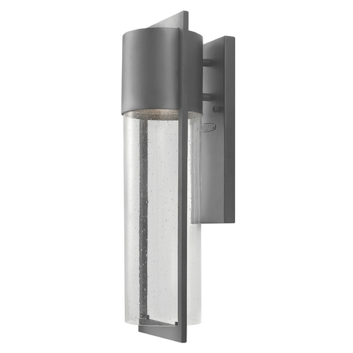 Hinkley Lighting Modern Outdoor Wall Light with Clear Glass in Hematite Finish 1324HE-GU24