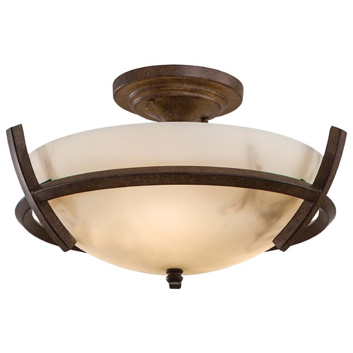 Minka Lavery Semi-Flushmount Light with Alabaster Glass in Nutmeg Finish 687-14