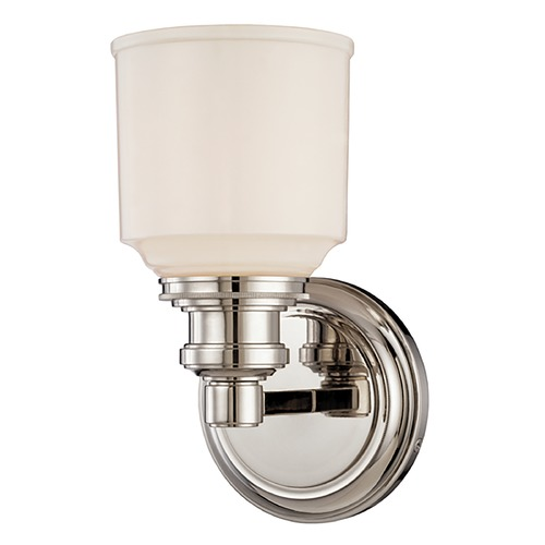 Hudson Valley Lighting Sconce with White Glass in Polished Nickel Finish 3401-PN