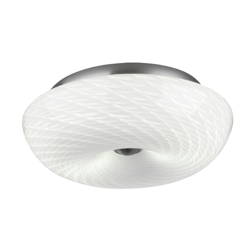 Philips Lighting Modern Flushmount Light with White Glass in Satin Nickel Finish F606336U