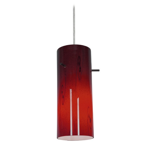 Access Lighting Modern Mini-Pendant Light with Red Glass 28030-2C-BS/RUSKY