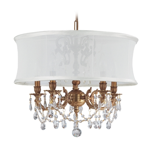 Crystorama Lighting Crystal Mini-Chandelier with White Shade in Aged Brass Finish 5535-AG-SMW-CLQ