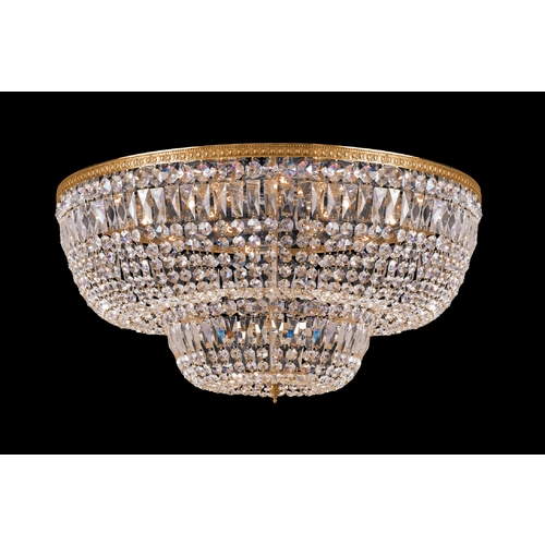 Crystorama Lighting Crystal Flushmount Light in Olde Brass Finish 748-OB-CL-SAQ