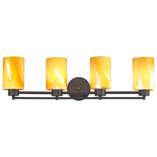 Design Classics Lighting Modern Bathroom Light with Butterscotch Art Glass - Four Lights 704-220 GL1022C