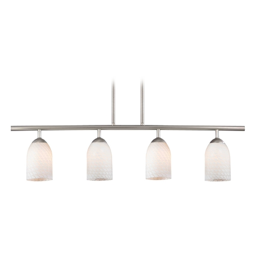 Design Classics Lighting Modern Island Light with White Glass in Satin Nickel Finish 718-09 GL1020D