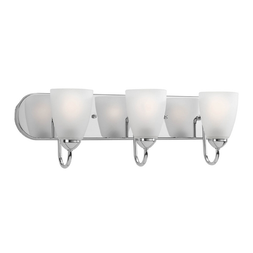 Progress Lighting Progress Bathroom Light with White Glass in Polished Chrome Finish P2708-15