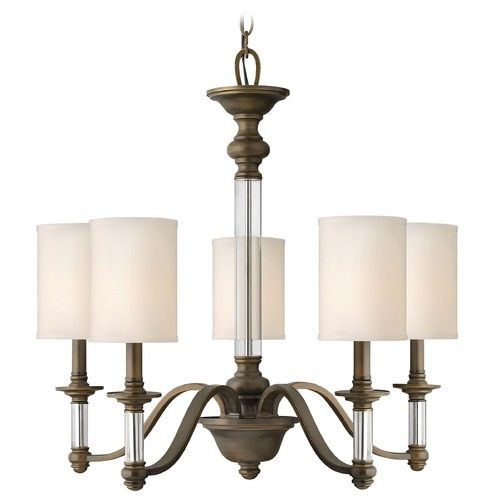 Hinkley Lighting Chandelier with Beige / Cream Shades in English Bronze Finish 4795EZ
