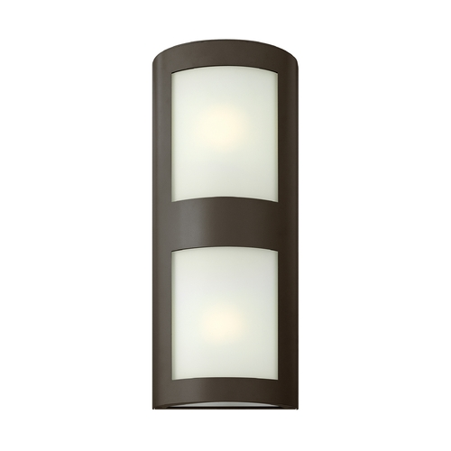 Hinkley Lighting Modern Outdoor Wall Light with White Glass in Bronze Finish 2025BZ