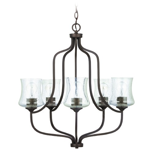 HomePlace by Capital Lighting HomePlace Reeves Bronze 5-Light Chandelier with Clear Seeded Glass 439251BZ-499