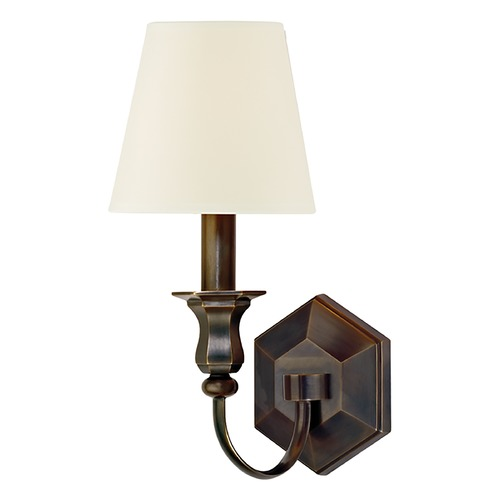 Hudson Valley Lighting Sconce Wall Light with White Shade in Old Bronze Finish 1411-OB-WS