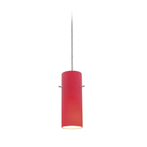 Access Lighting Modern Mini-Pendant Light with Red Glass 28030-2C-BS/RED