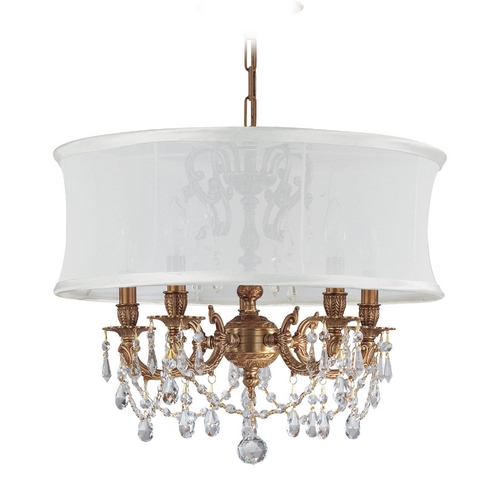 Crystorama Lighting Crystal Mini-Chandelier with White Shade in Aged Brass Finish 5535-AG-SMW-CLS