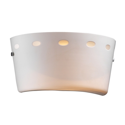 PLC Lighting Modern Sconce Wall Light with White Glass in Polished Chrome Finish 70045 PC