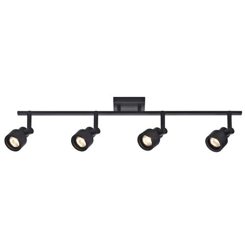 Recesso Lighting by Dolan Designs Track Light with 4 Stepped Cylinder Spot Lights - Black - GU10 Base TR0204-BK