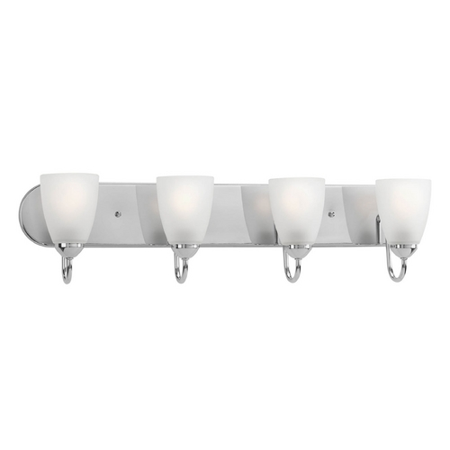 Progress Lighting Progress Bathroom Light with White Glass in Polished Chrome Finish P2709-15
